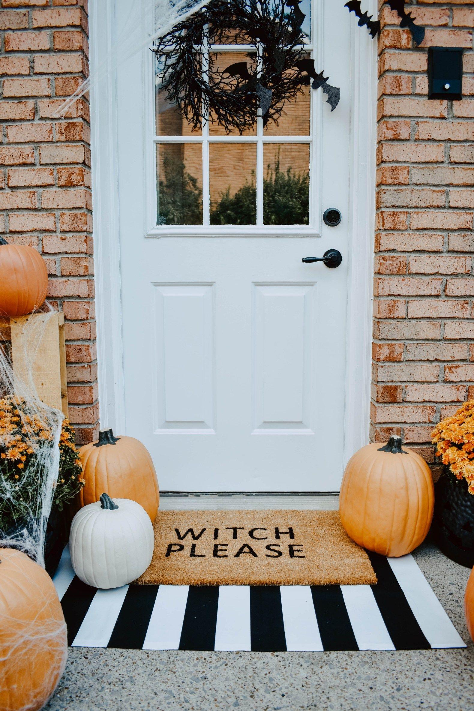 Diy Halloween Door Mat Front Porch Halloween Front Doors