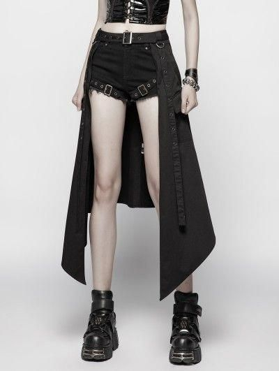 Punk Rave Black Gothic Punk Daily Half Skirt Acces