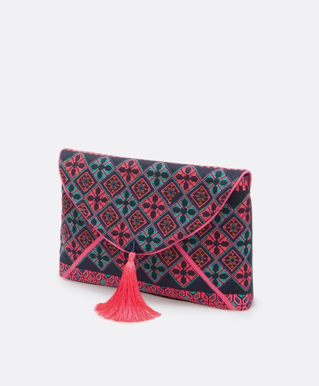 this clutch could be a diy project | Little embroidered fabric bag - OYSHO - shopping for purses, ladies wallet purse, purses and handbags online *sponsored https://www.pinterest.com/purses_handbags/ https://www.pinterest.com/explore/hand-bags/ https://www.pinterest.com/purses_handbags/purses/ http://www.polyvore.com/handbags/shop?category_id=318