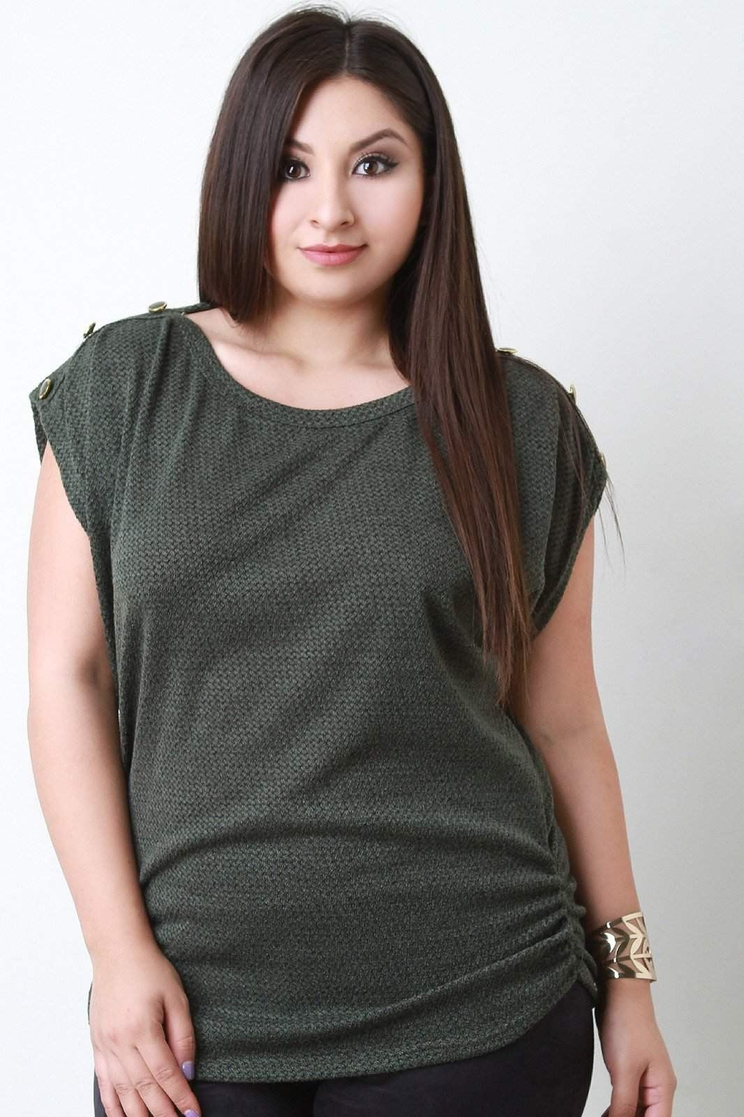Ruched Soft Knit Button Shoulder Top