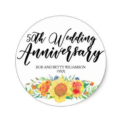 Modern Boho Floral 50th Wedding Anniversary Classic Round Sticker    Anniversary Cyo Diy Gift Idea Presents