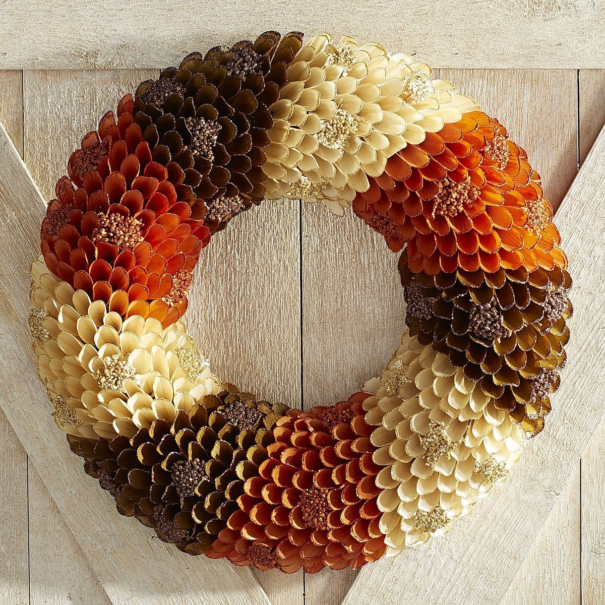 Tricolor Wood Curl Wreath Pier 1