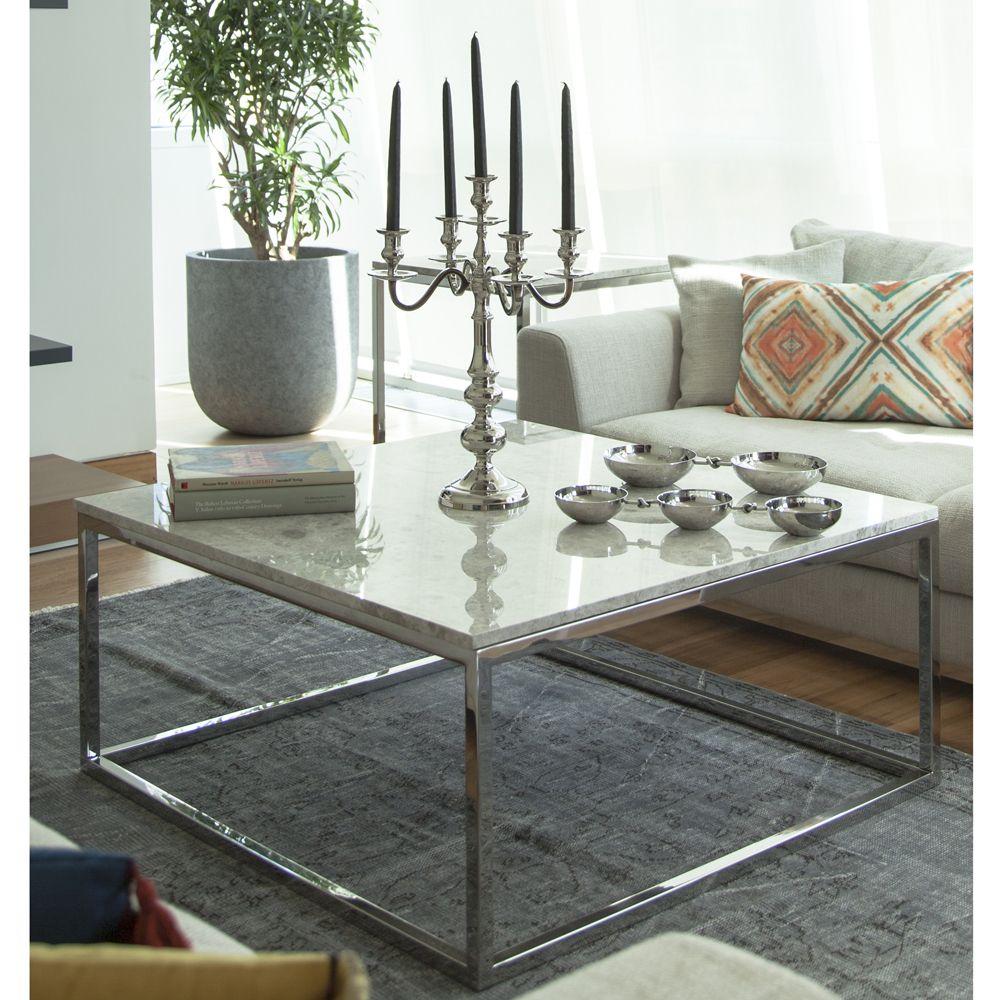 Photo of Sixth Avenue Light Gray Marble Flat Metal Legs Coffee Table 10 …