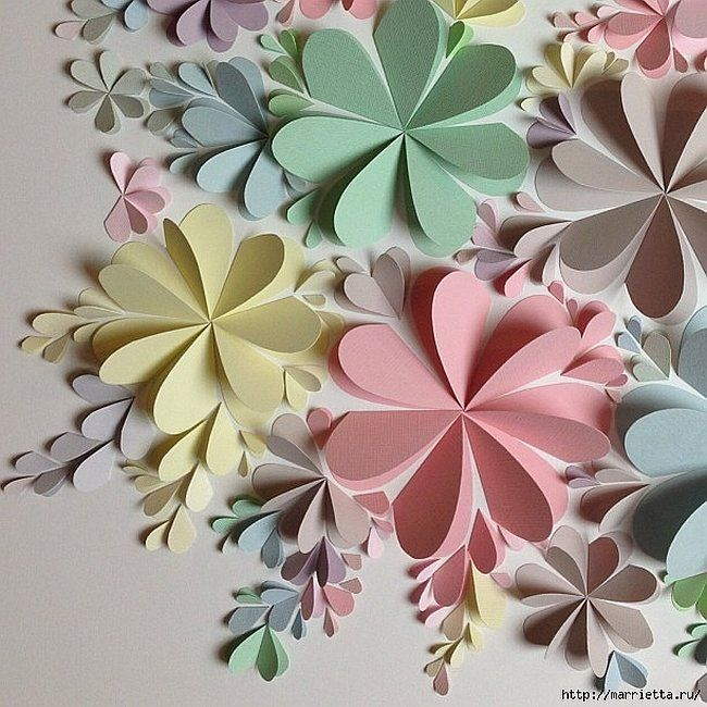 Herrliche DIY Papierblume Wandkunst - Free Guide und Vorlagen #paperflowertutorial