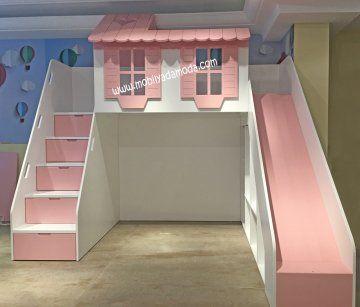 Ev Çatılı Ranza Altı Çekmeceli Dik Merdivenli