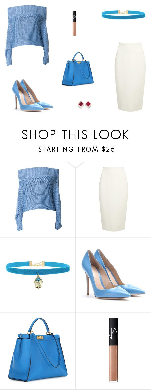 """""""Untitled #6194"""" by mie-miemie ❤ liked on Polyvore featuring TIBI, Donna Karan, Rock 'N Rose, Gianvito Rossi, Fendi, NARS Cosmetics and Monica Vinader"""