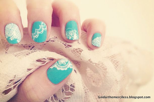 Aqua & White Lace Nails!  Very pretty!