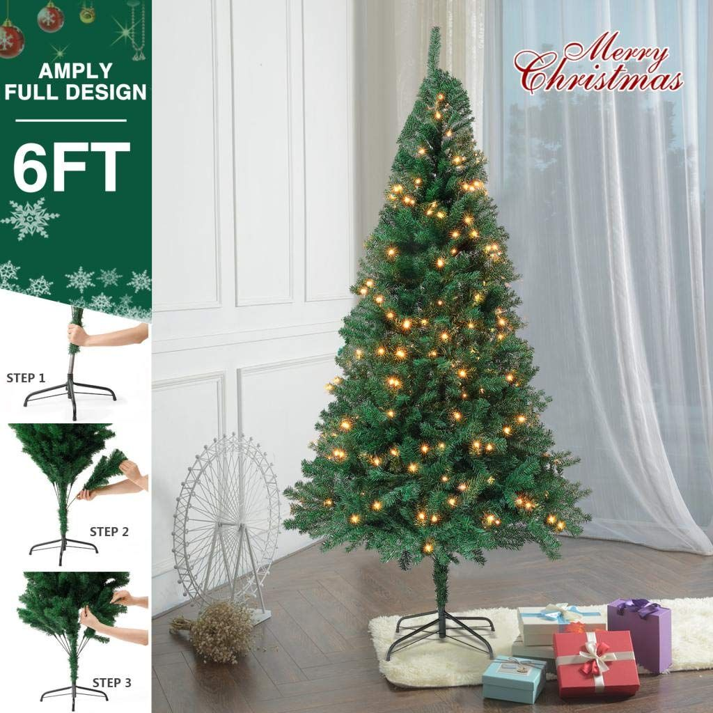 Superworth 6ft Artificial Christmas Pine Tree Hinged 1000 Branches Tips Unlit Tree Xmas Tree For Indoor Decoration W Fairy Lights Led Fairy Lights Indoor Decor