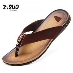 87a0289793a81    19 OFF   Z.suo Flip Flops Genuine Leather Slippers Summer Fashion Beach  Sandals Shoes For Men Plus Size Eur  39-44 Pantufa Hot Sell