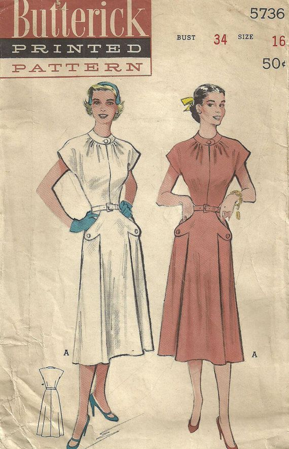 Vintage 50s Sewing Pattern from Butterick 5736 Dress Size 16 Bust 34 ...