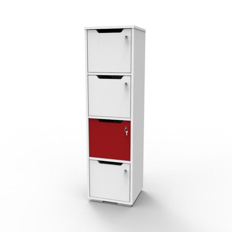 Vestiaire Multicases En Bois Caseo4 4 Cases Blanc Rouge Rangement Bois Casier Rangement Casier Bois
