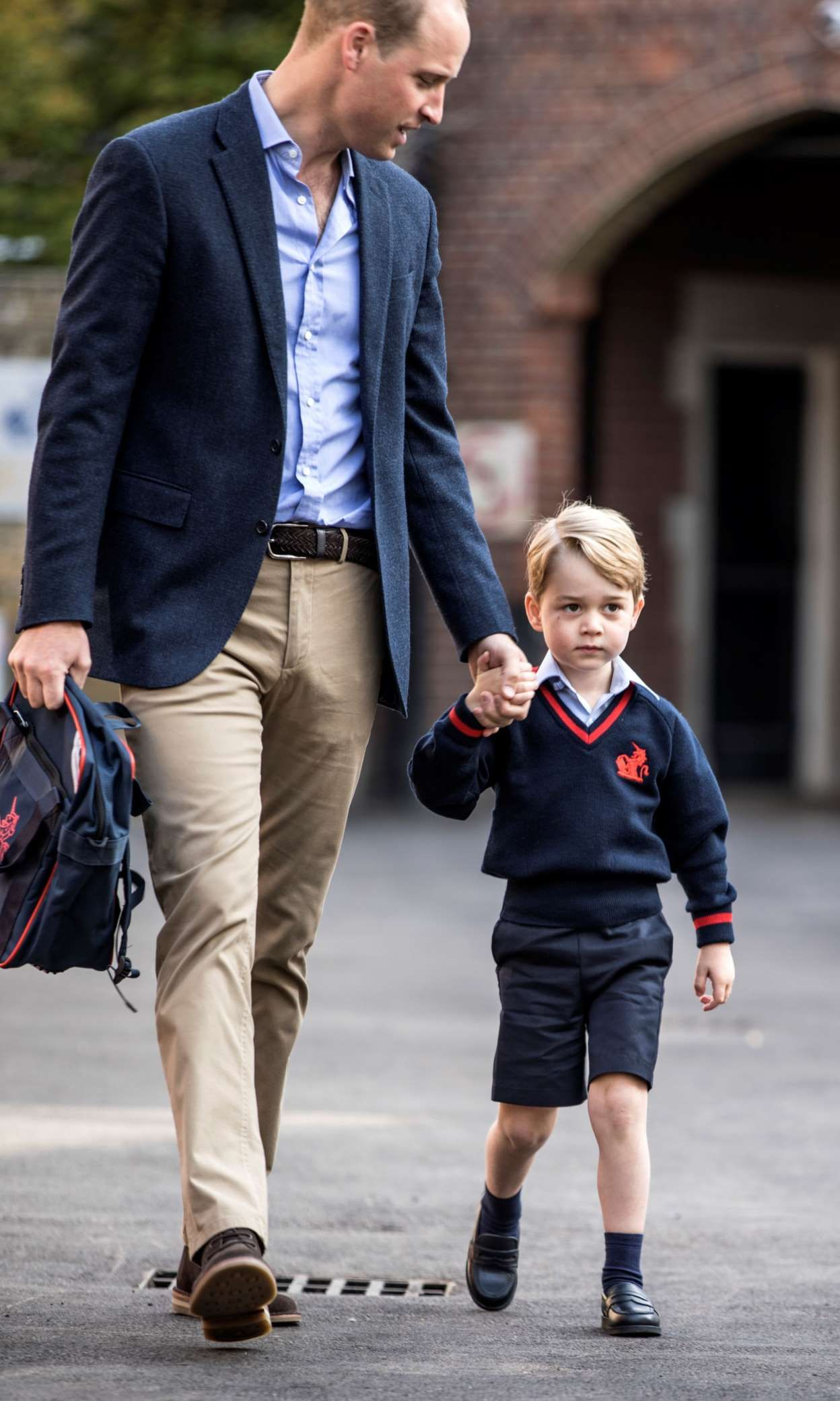 a558f50599d4d Britain's Prince William accompanies his son Prince George on his first day  of school at Thomas's school in Battersea, London, September 7, 2017.