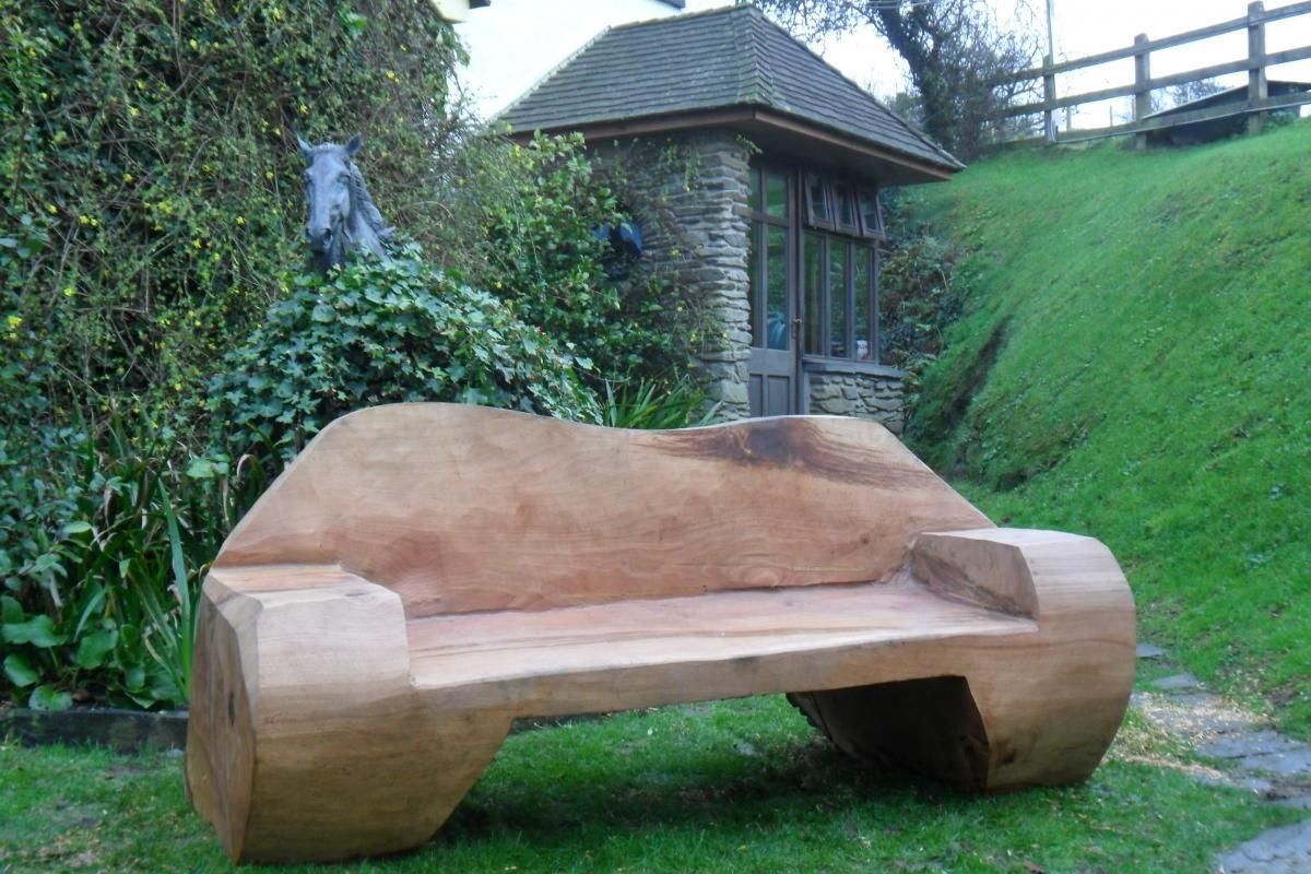 Chainsaw carved bench woodworking carving rustic chainsaw