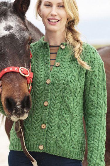 Carraig Donn Irish Aran Wool Sweater Womens Cable Knit Vneck ...