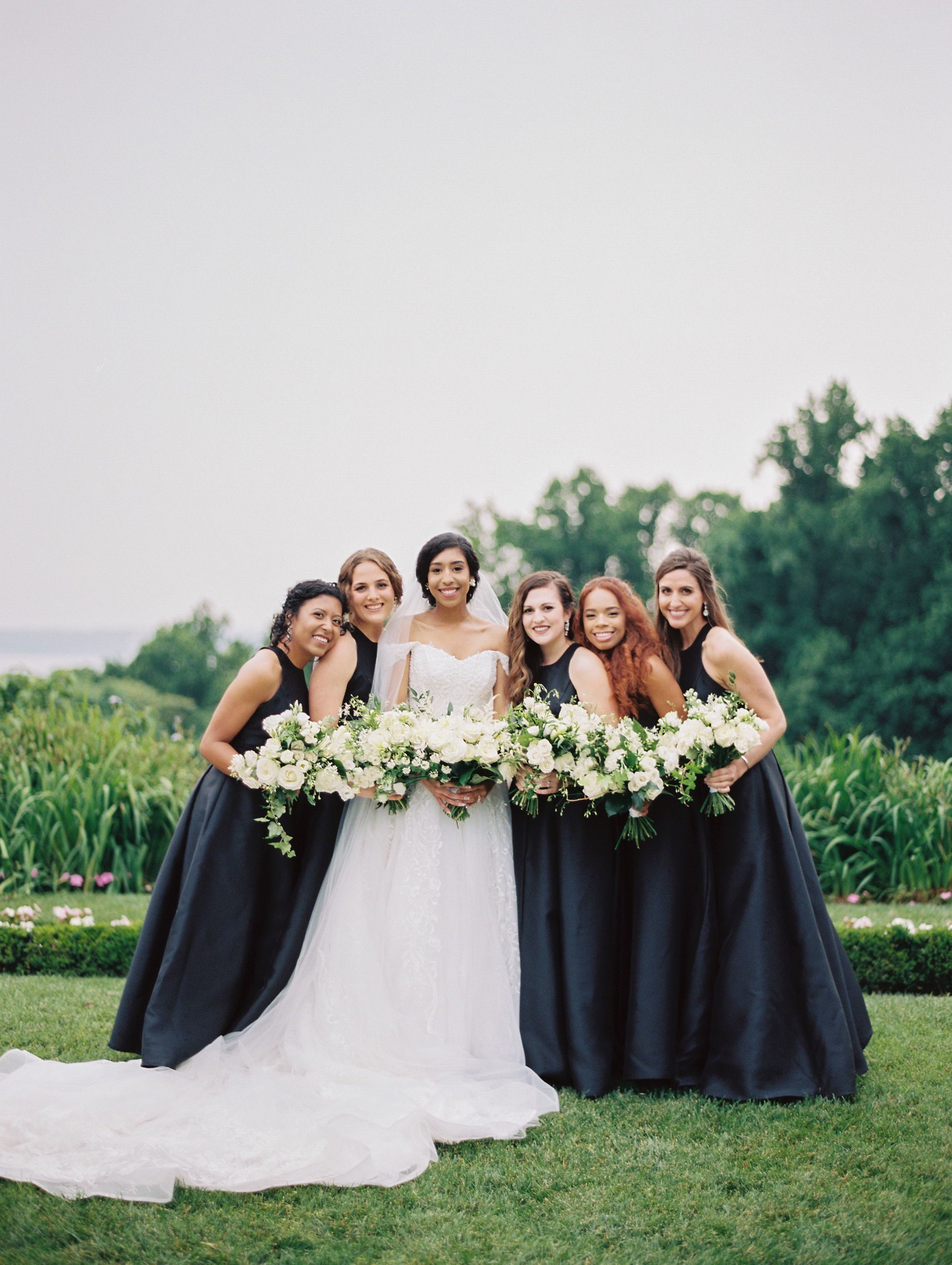 These Black Bridesmaids Dresses Are A Perfect Detail To This Maryland Outdoor Wedding With European Detail Black Bridesmaid Dresses Wedding Inspiration Wedding [ 3035 x 2285 Pixel ]