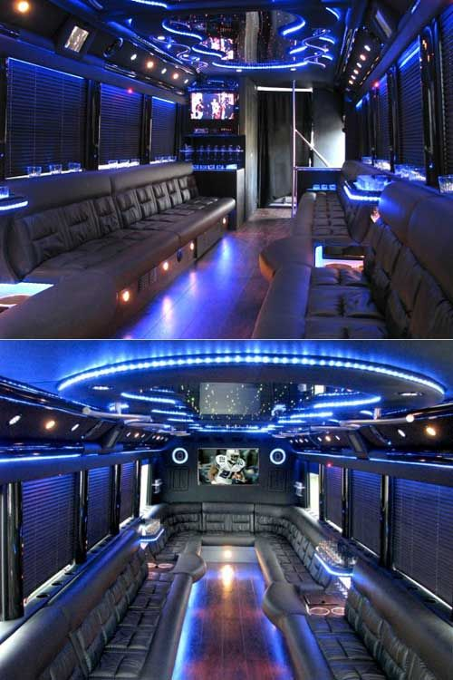 Very Nice Party Bus I M A Fan Of The Big Screen Tv Destination West Limousine S Hummer Limo Has Two 19 5 Tvs At The Party Bus Rental Party Bus Limo Interior