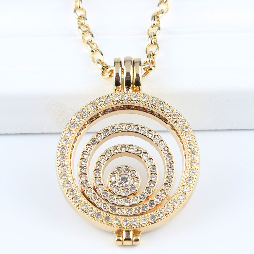 Interchangeable Disc Necklace: Interchangeable Necklace 33MM Coin Holder Necklace Full