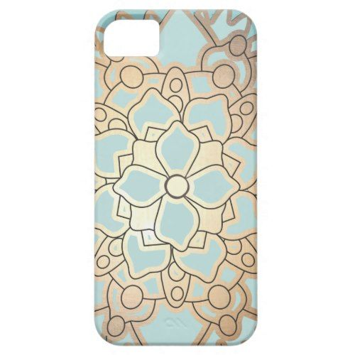Blue and Faux Gold Leaf Lotus Flower iPhone SE/5/5s Case