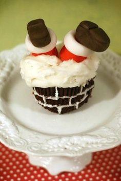 Santa chimney cupcake