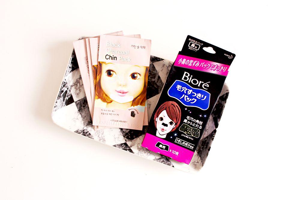 Charcoal pore strips biore etude house pretty not