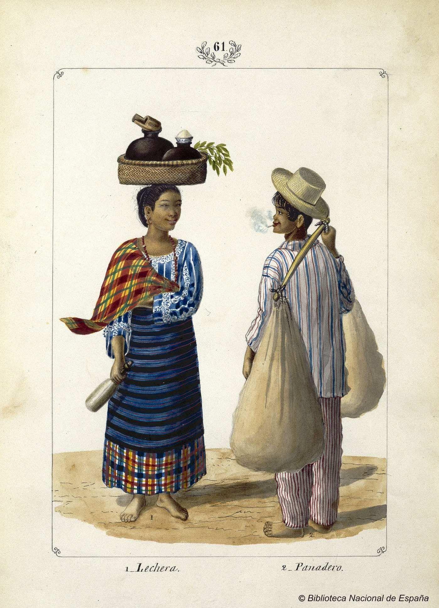 [Lechera y Panadero]. Lozano, José Honorato 1821- — Dibujo — 1847