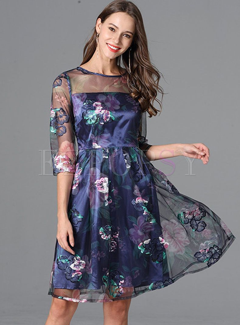 Gauze Embroidery Spangle Plus Size Skater Dress in 2019 | Dresses ...