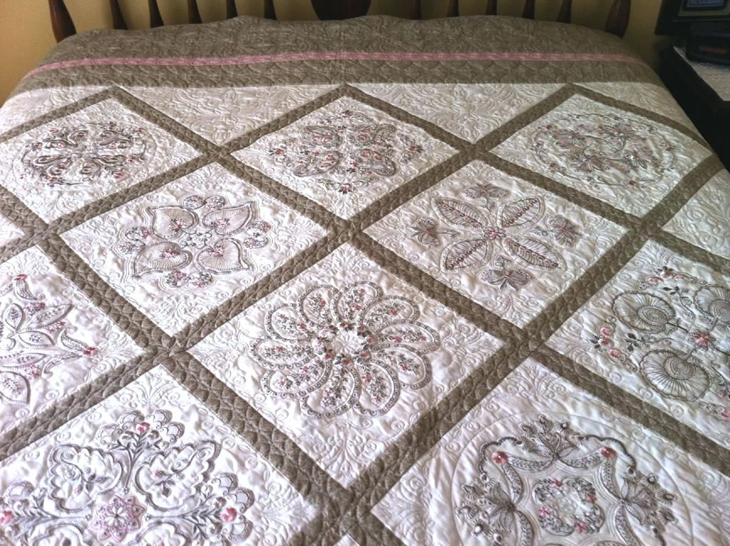 Monogrammed Baby Quilt Pattern Vintage Embroidery Baby Quilt