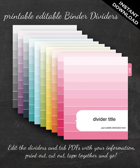 Binder Dividers Printable Editable Rainbow Ombre Theme Instant
