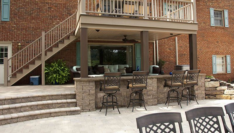 Backyard Pavers Covered Outdoor Space Furniture Elevated Decks Outdoor Kitchen Bar Patio Deck Fireplace Outdoor Entertaining