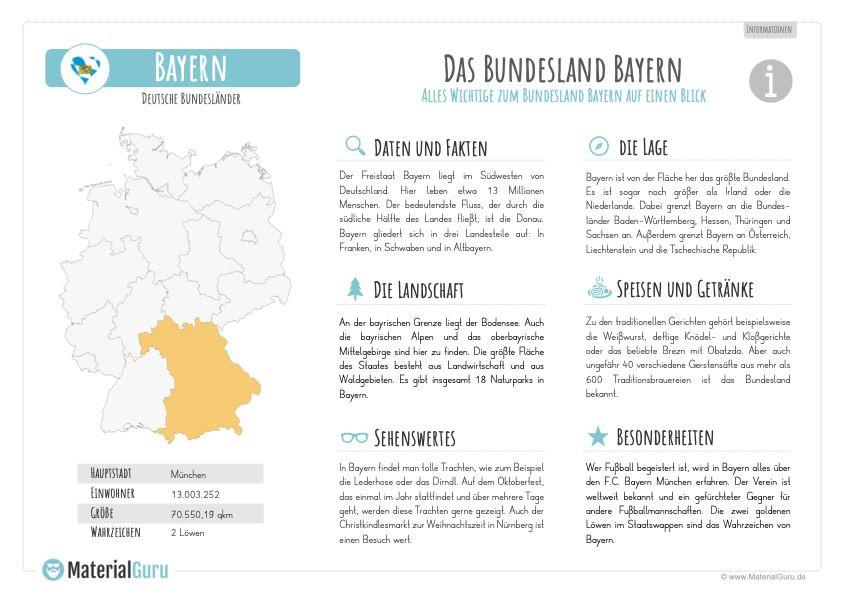 Arbeitsblatt Lesetext Zum Bundesland Bayern Bundesland Sachkunde