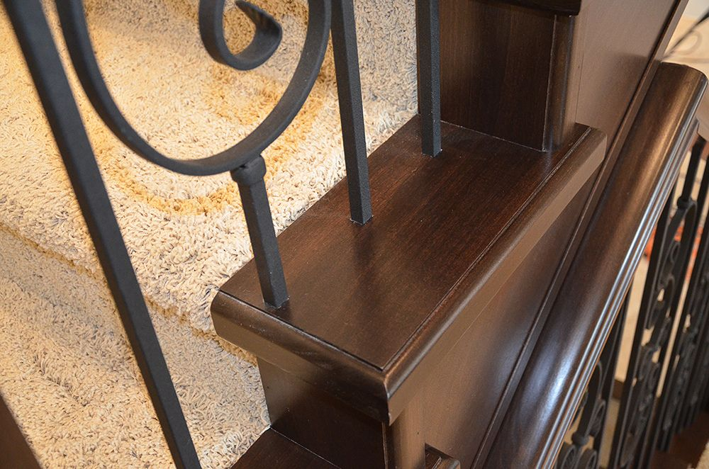 Staircase End Cap Detail With Metal Spindles Hardwood Stair   Carpeted Stairs With Wood End Caps   Stair Railing   Waterfall   Diy   Capped   Step