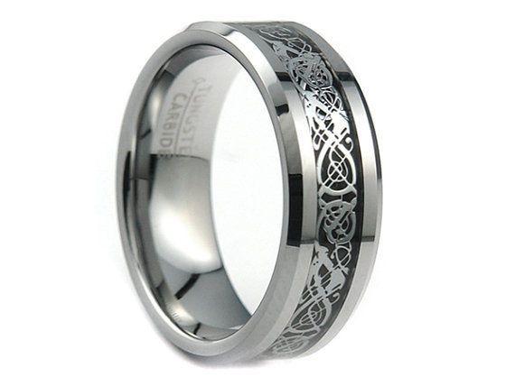 8mm Tungsten Carbide Silver Celtic Dragon Black Inlay Ring Men's Wedding Band #TungstenCarbide #Band
