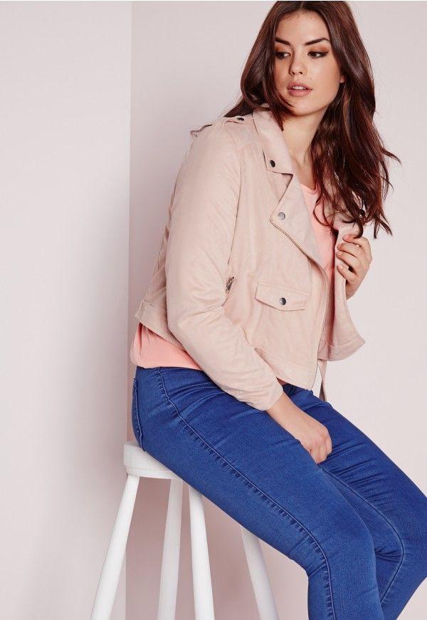 6adb4232f18 Plus Size Faux Suede Biker Jacket Pink