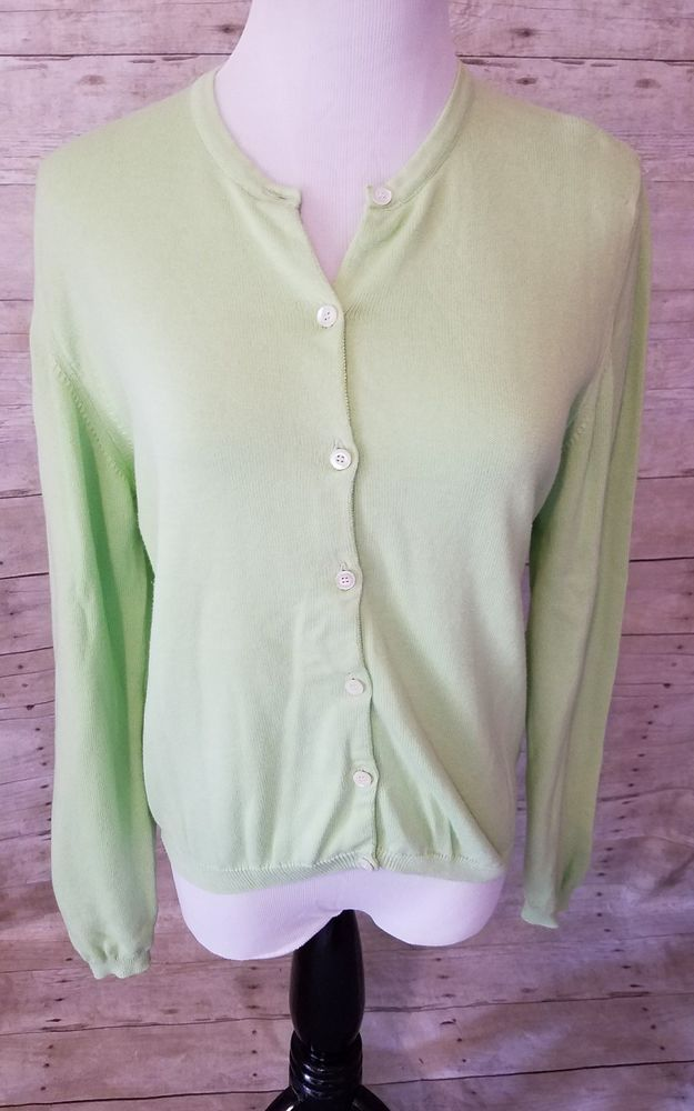 Lily Pulitzer Women's Small Lime Green Cardigan Sweater Button Up ...
