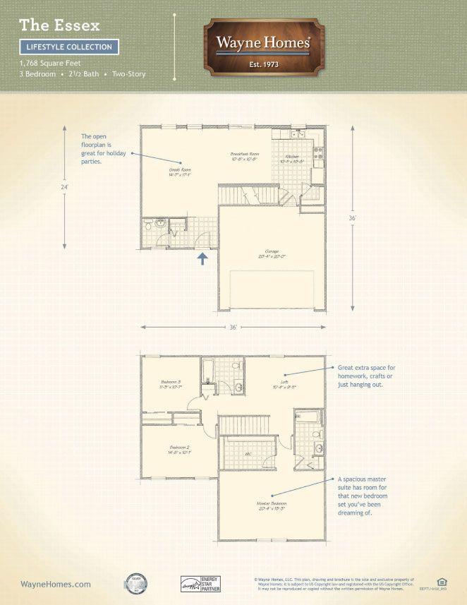 Essex Floor Plan Two Story Custom Home Wayne Homes Essex How
