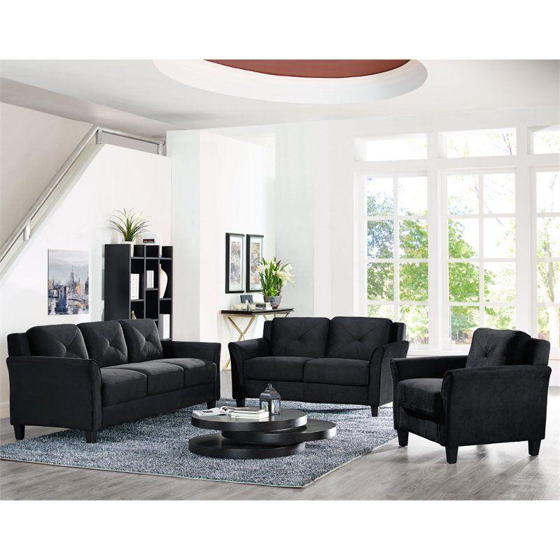 Lifestyle Solutions Hartford 3 Piece Microfiber Sofa Set In Black Living Room Sets Sofa Set Living Room Furniture