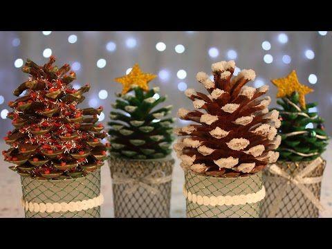 Arbolitos navideños con PIÑAS Adornos NAVIDEÑOS FACILES - YouTube