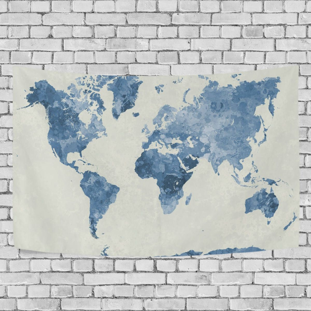 Blue watercolor world map tapestry abstract splatter painting wall blue watercolor world map tapestry abstract splatter painting wall hanging art for living room bedroom dorm decor gumiabroncs Choice Image