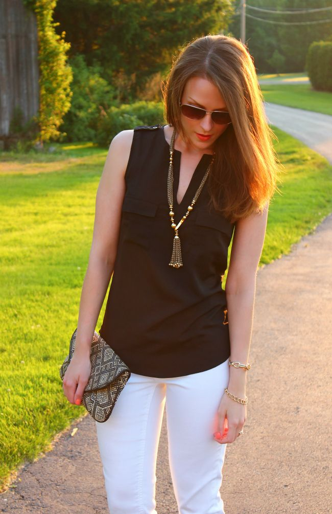 Black, gold, and white jeans