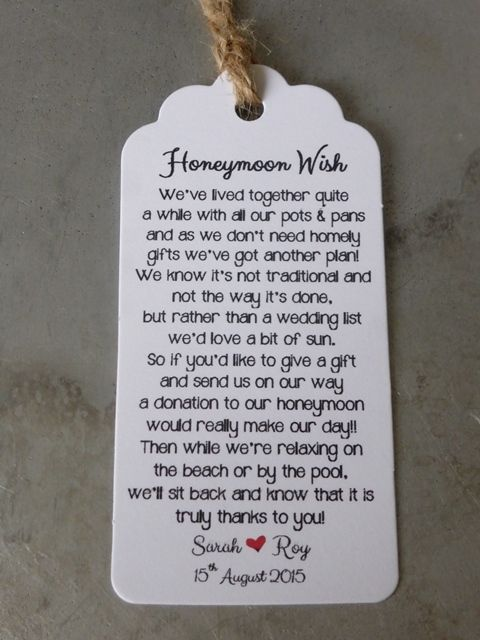 Details About Wedding Honeymoon Fund Money Request Poem Card Favour Gift Tag Wishing Well