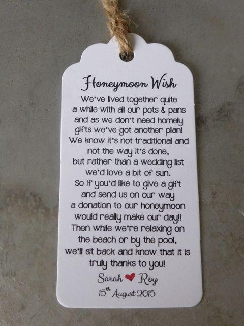 Wedding Honeymoon Fund Money Request Poem Card Favour