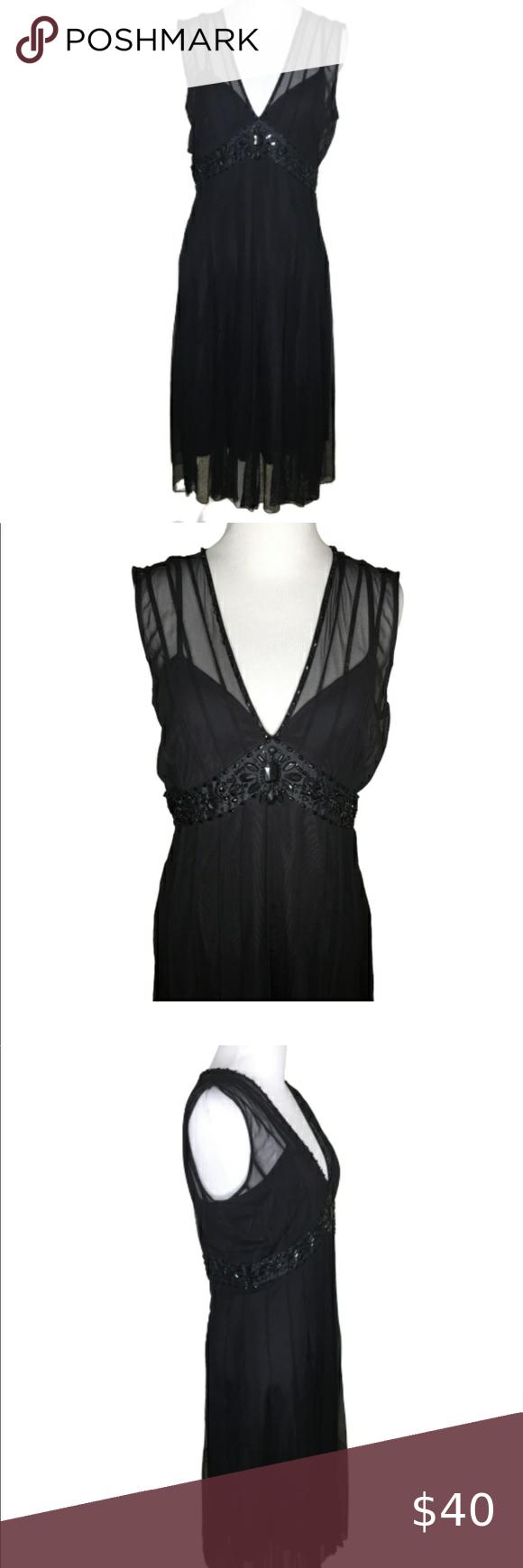 Ixe Black Sheer Overlay Embellish Evening Dress 6 Evening Dresses Dresses Black Sleeveless Dress [ 1740 x 580 Pixel ]