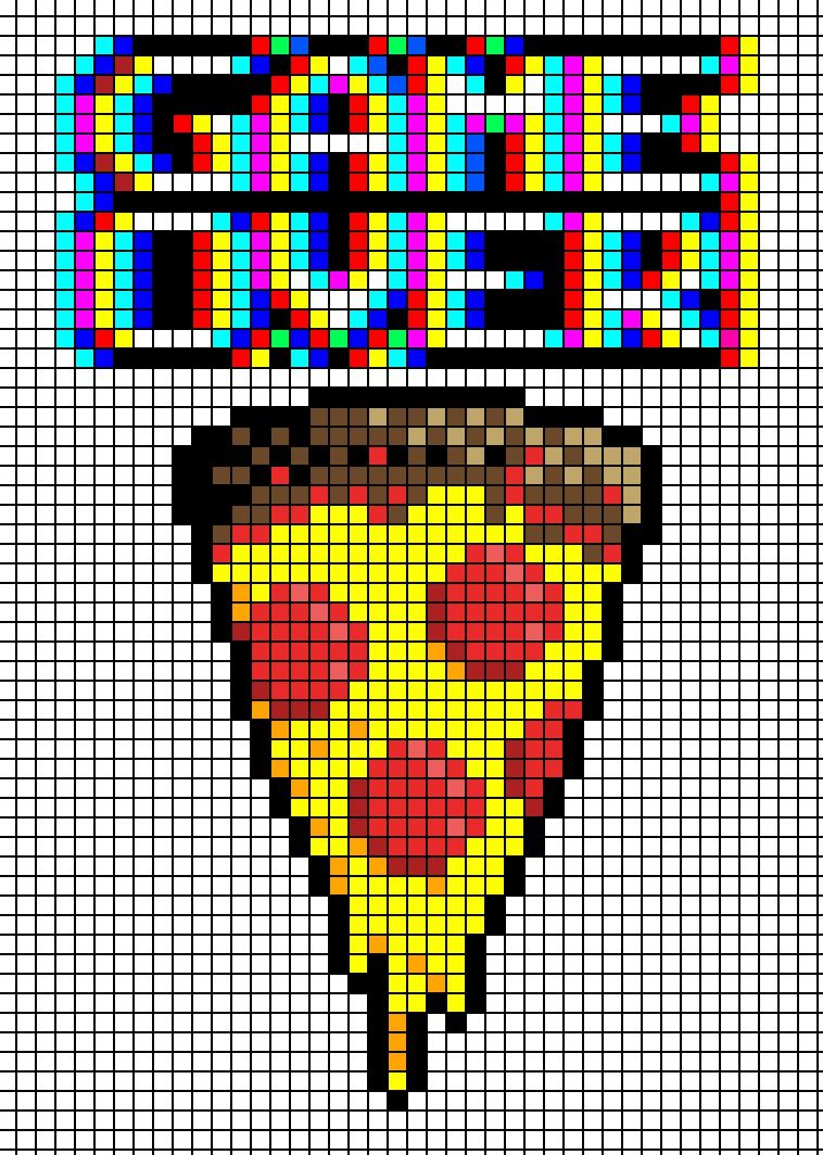 Game Over Pizza Cross Stitch Pattern Perler Bead Pattern