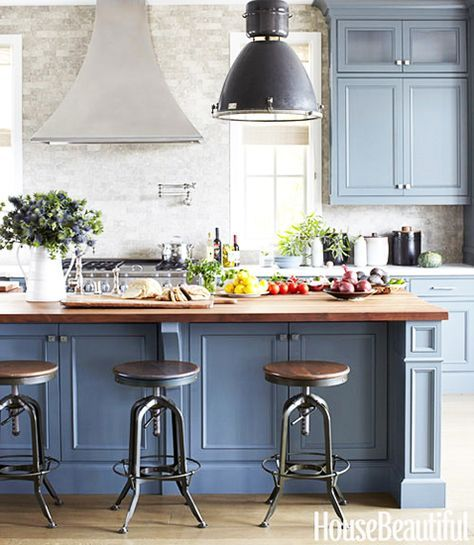 Having A Moment Blue Gray Kitchen Cabinets Butcher Block Countertop Industrial