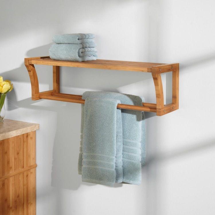 Handtuchständer aus Bambus mit Regal für Wandmontage BATHROOM - badezimmer bambus