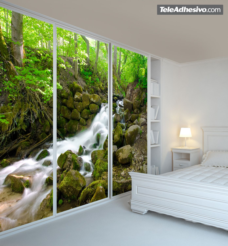 Fotomurales la cascada del bosque fotomurales de for Vinilo para dormitorio adultos