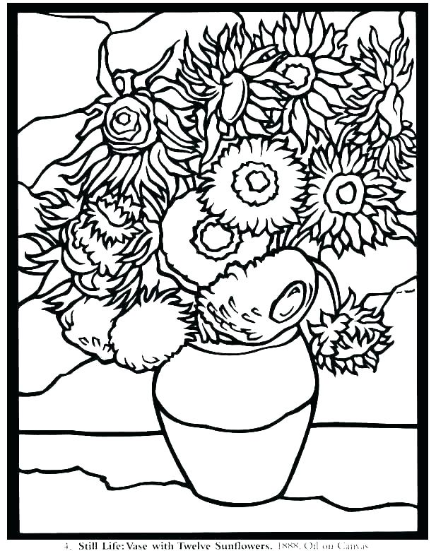 Famous Paintings Coloring Pages Famous Artists Coloring Pages Famous Art Coloring Pages Famous A Van Gogh Coloring Famous Art Coloring Sunflower Coloring Pages