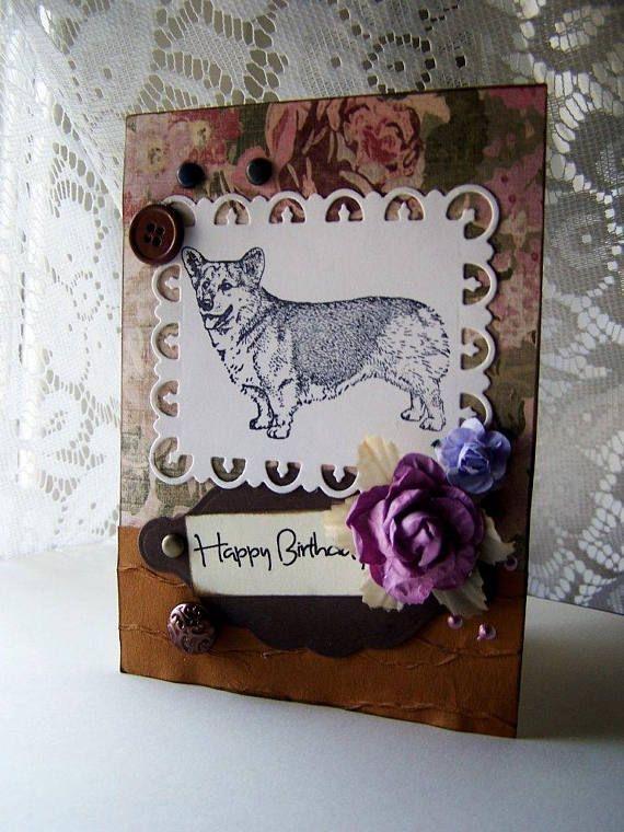 welsh corgi dog handmade corgi birthday card pet dog