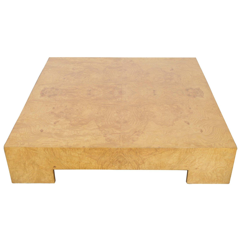 Milo baughman burlwood square coffee table usa for thayer