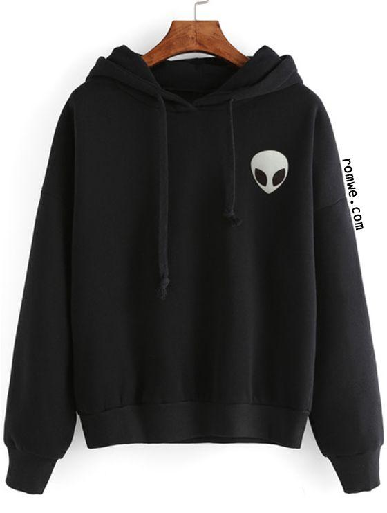Black Alien Print Hooded Sweatshirt   Romwe Hot Buy ...
